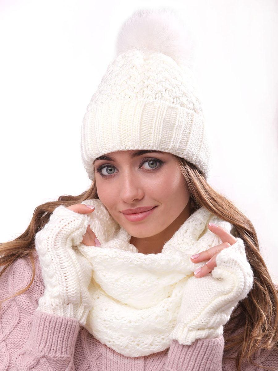 Комплект: шапка, шарф-хомут и митенки | 4866859