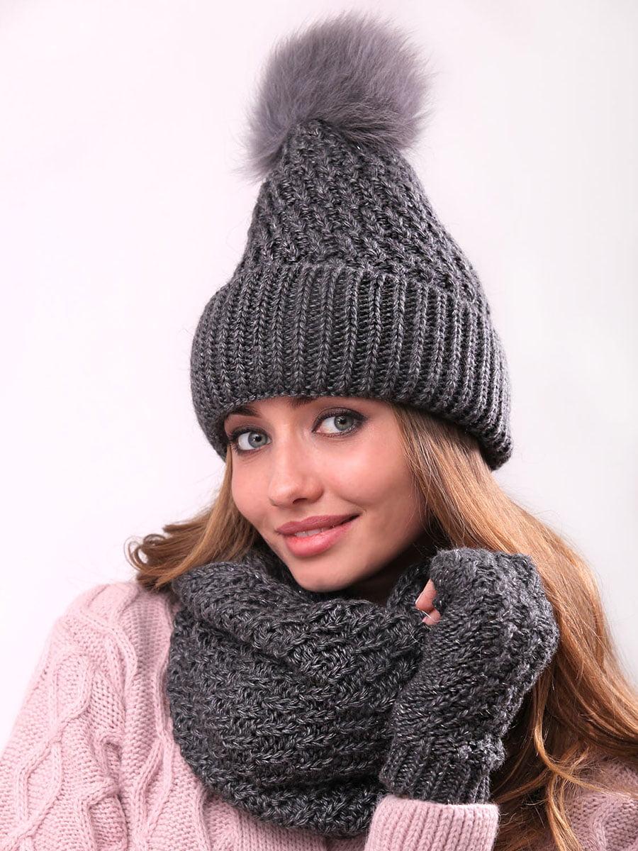 Комплект: шапка, шарф-хомут и митенки | 4866864