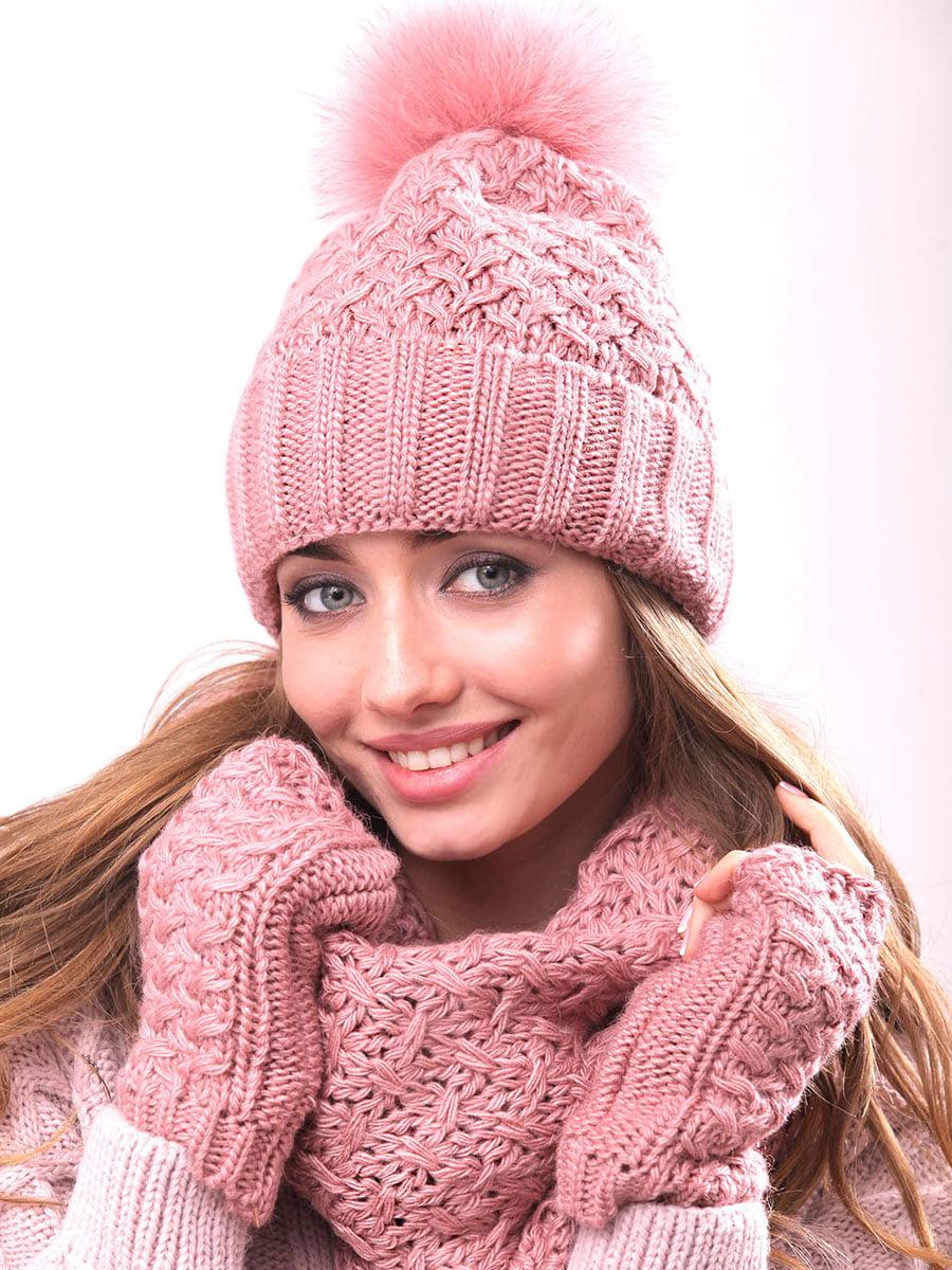 Комплект: шапка, шарф-хомут и митенки   4866855