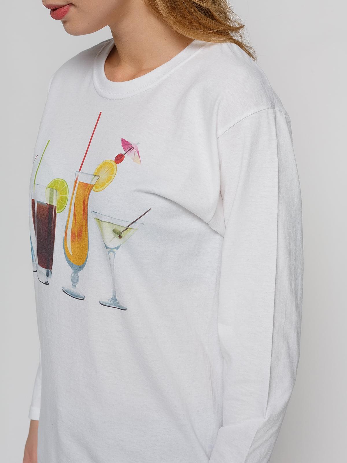 Лонгслив белый с принтом | 4861791 | фото 3