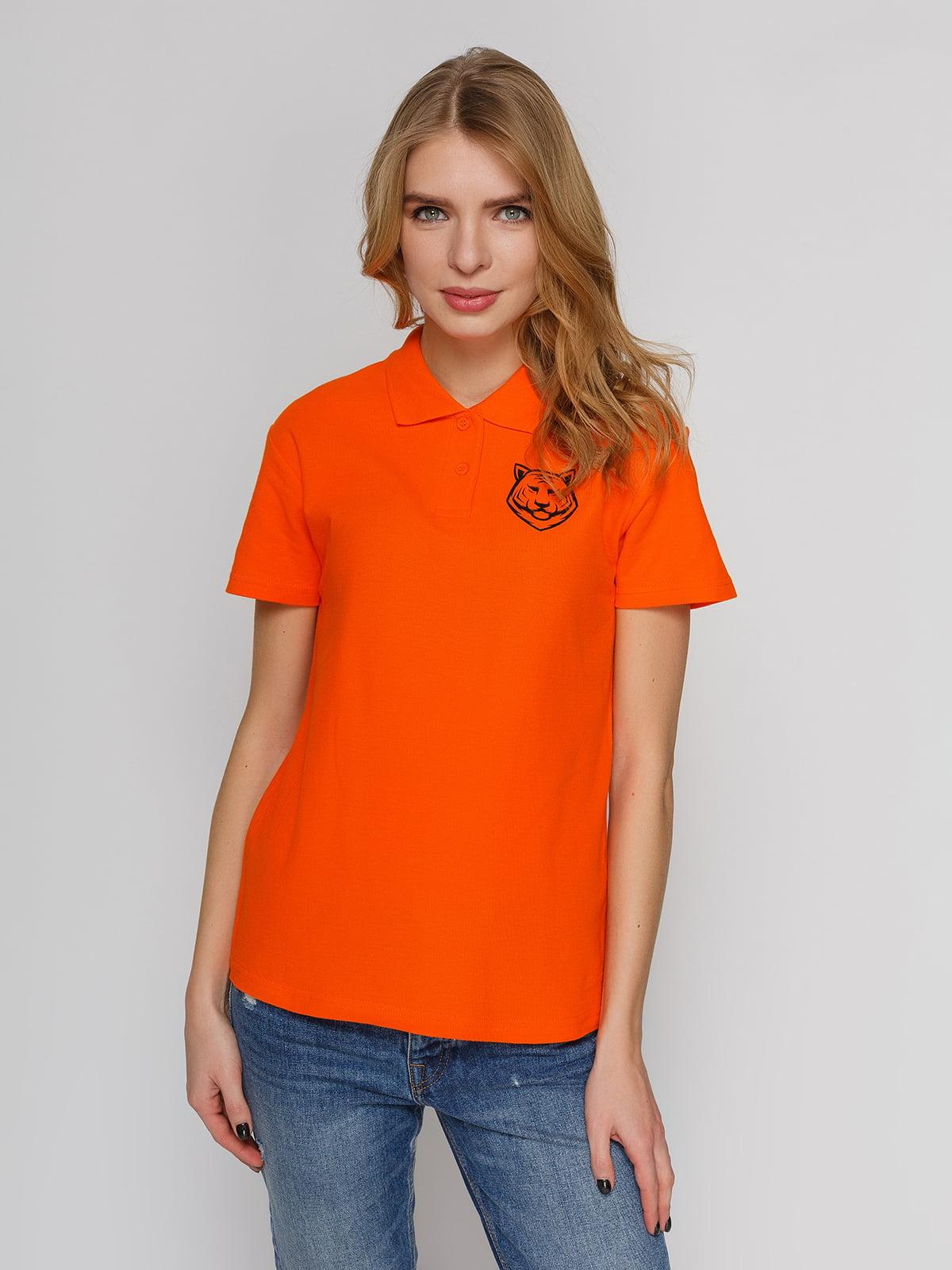 Футболка-поло оранжевая с принтом | 4861803