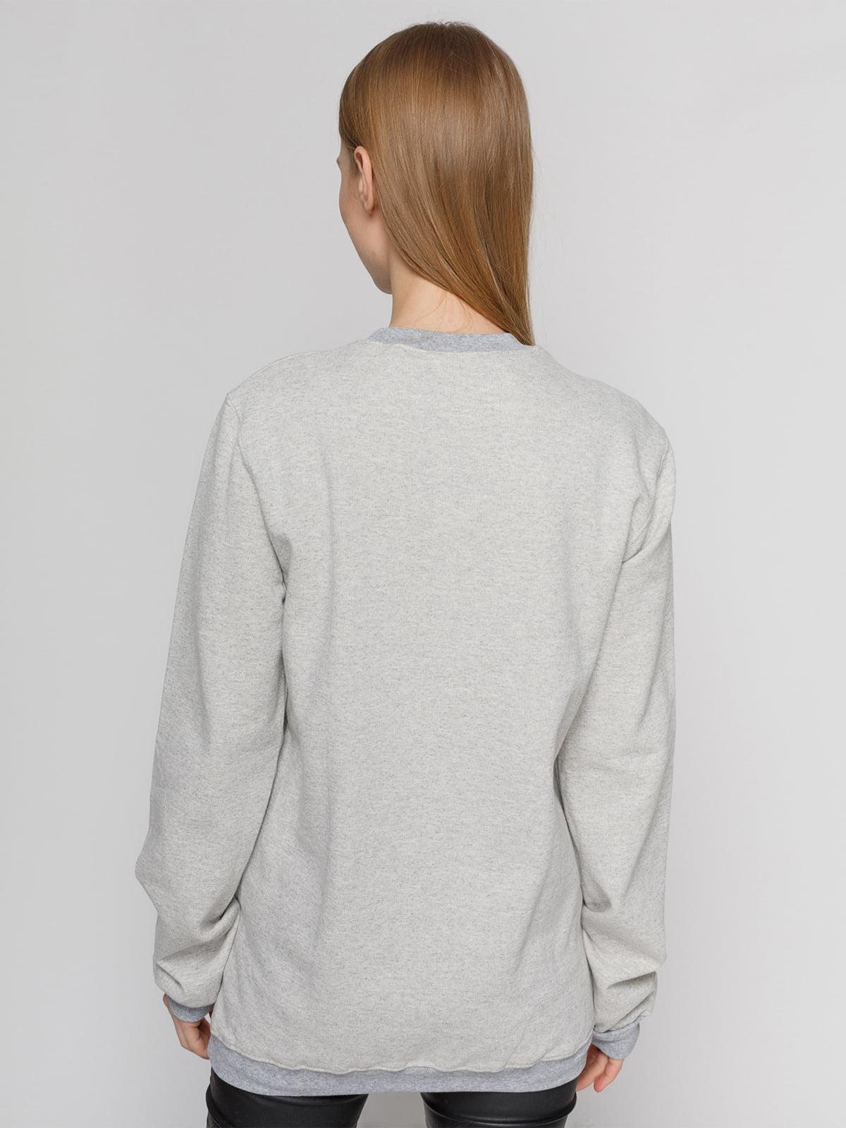 Свитшот серый с принтом | 4861878 | фото 2