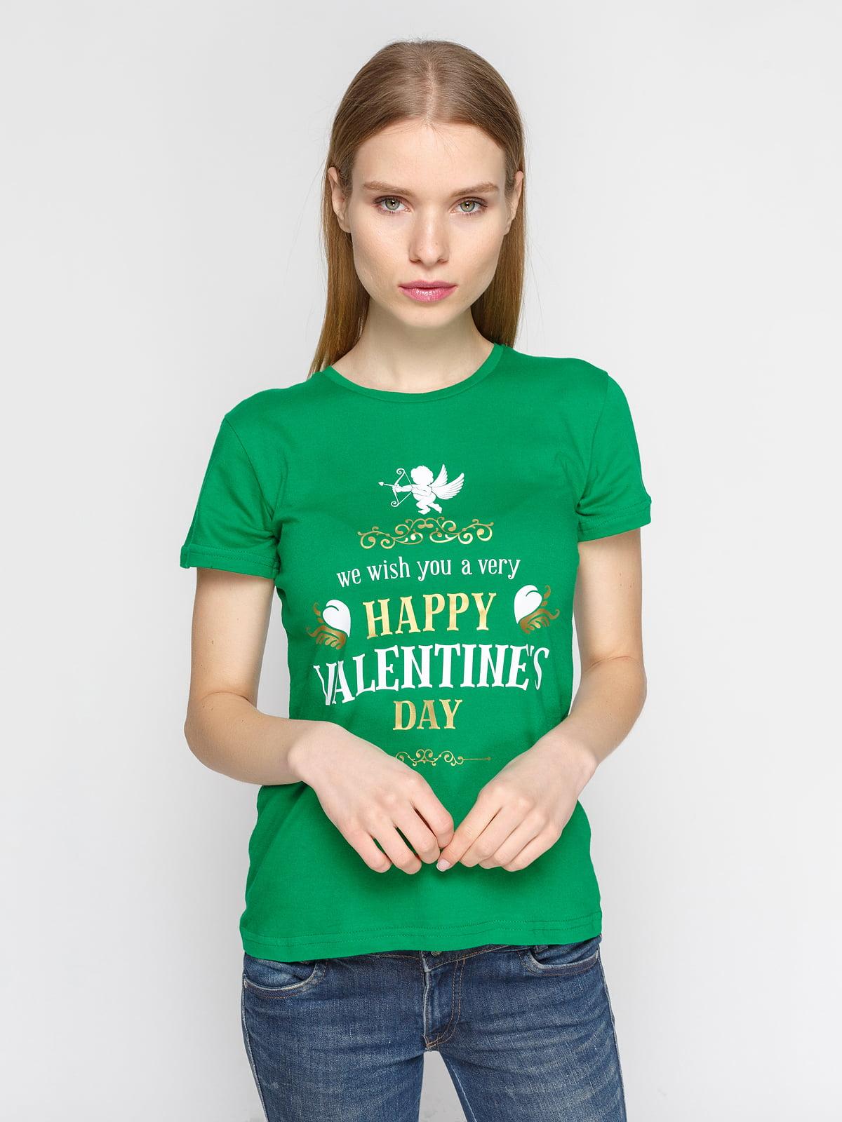 Футболка зеленая с принтом | 4863585