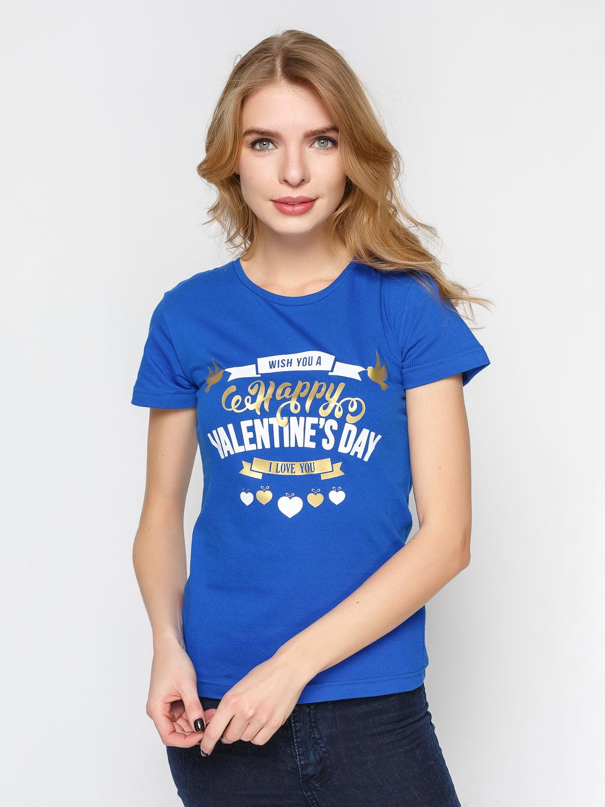 Футболка синяя с принтом | 4863581