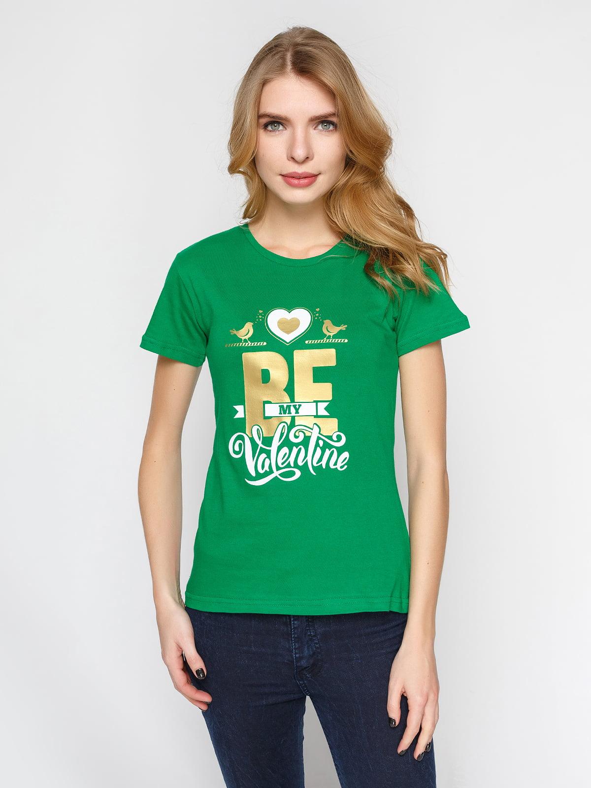 Футболка зеленая с принтом | 4863597