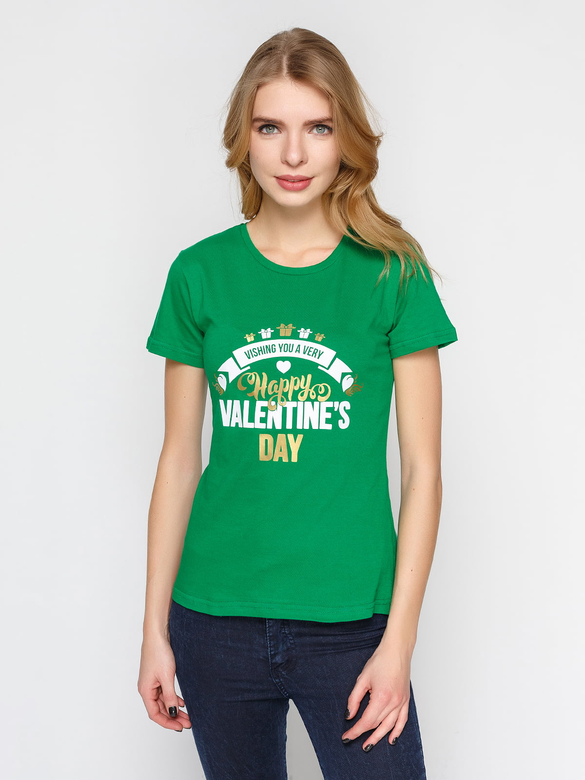 Футболка зелена з принтом | 4863593