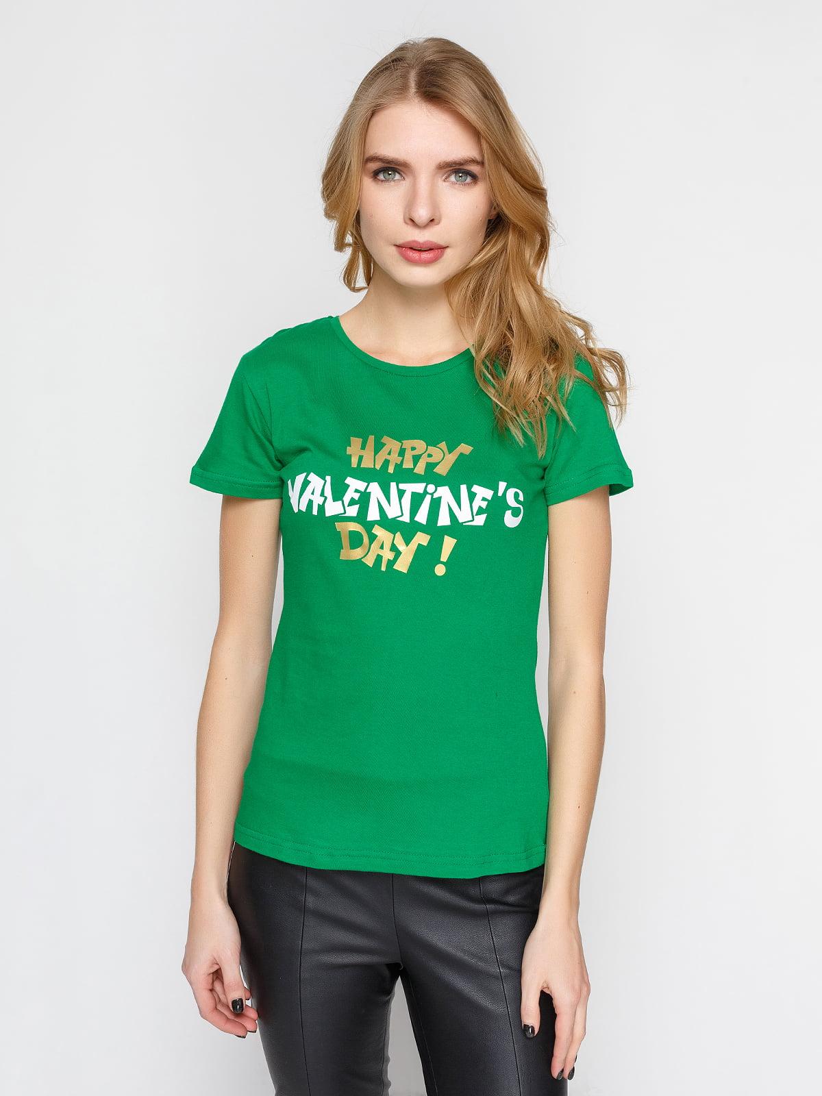 Футболка зеленая с принтом | 4863577