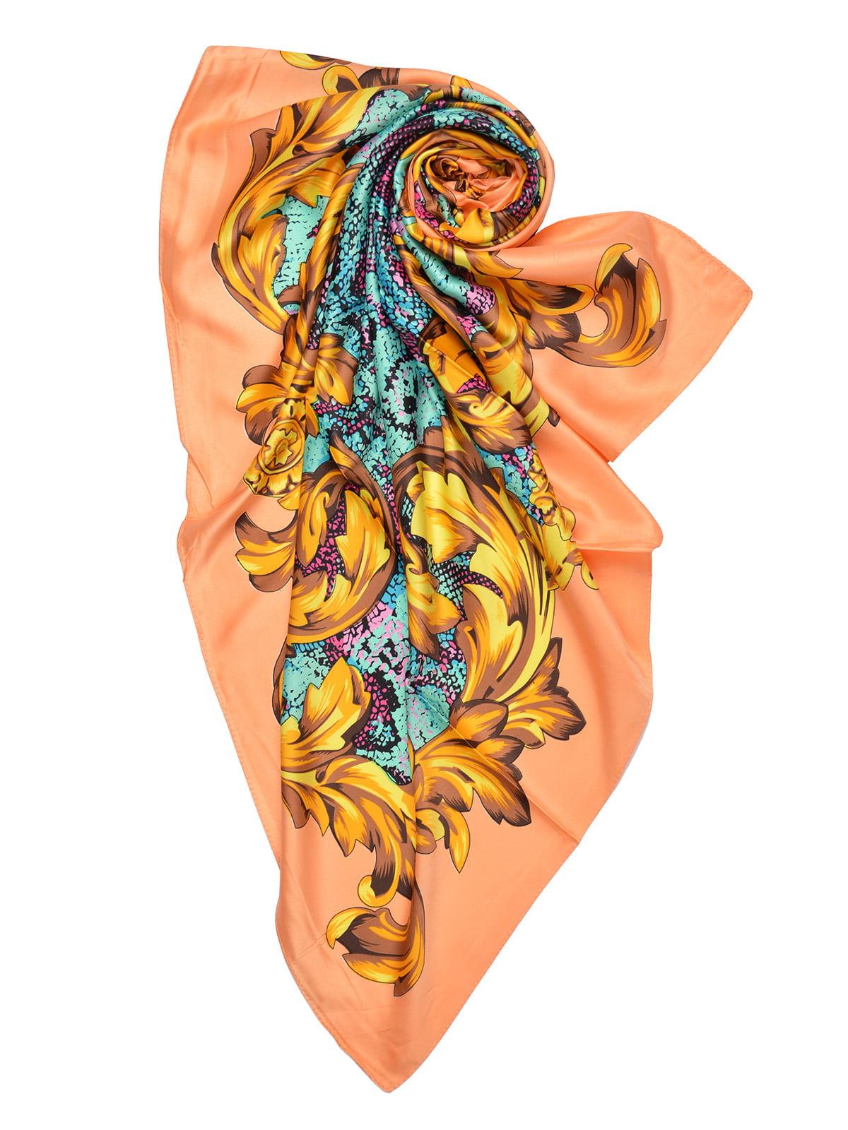 Платок персикового цвета с принтом | 4868260