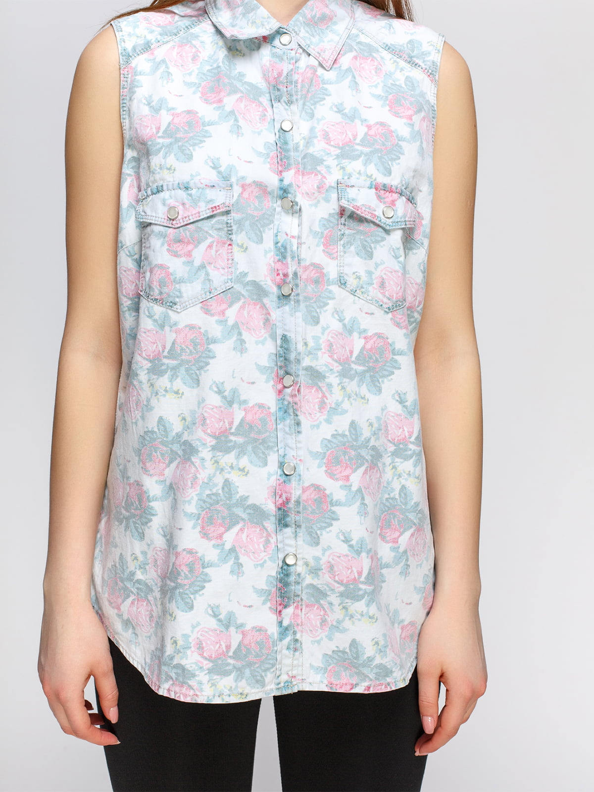Рубашка в цветочный принт | 4628323 | фото 3