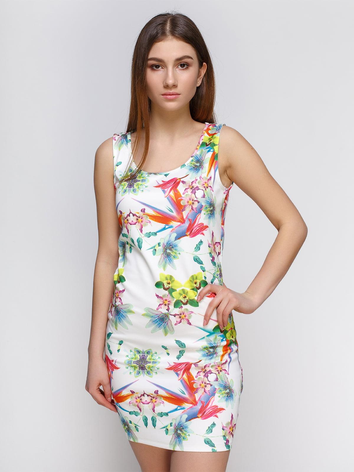 Платье белое с принтом | 4632621