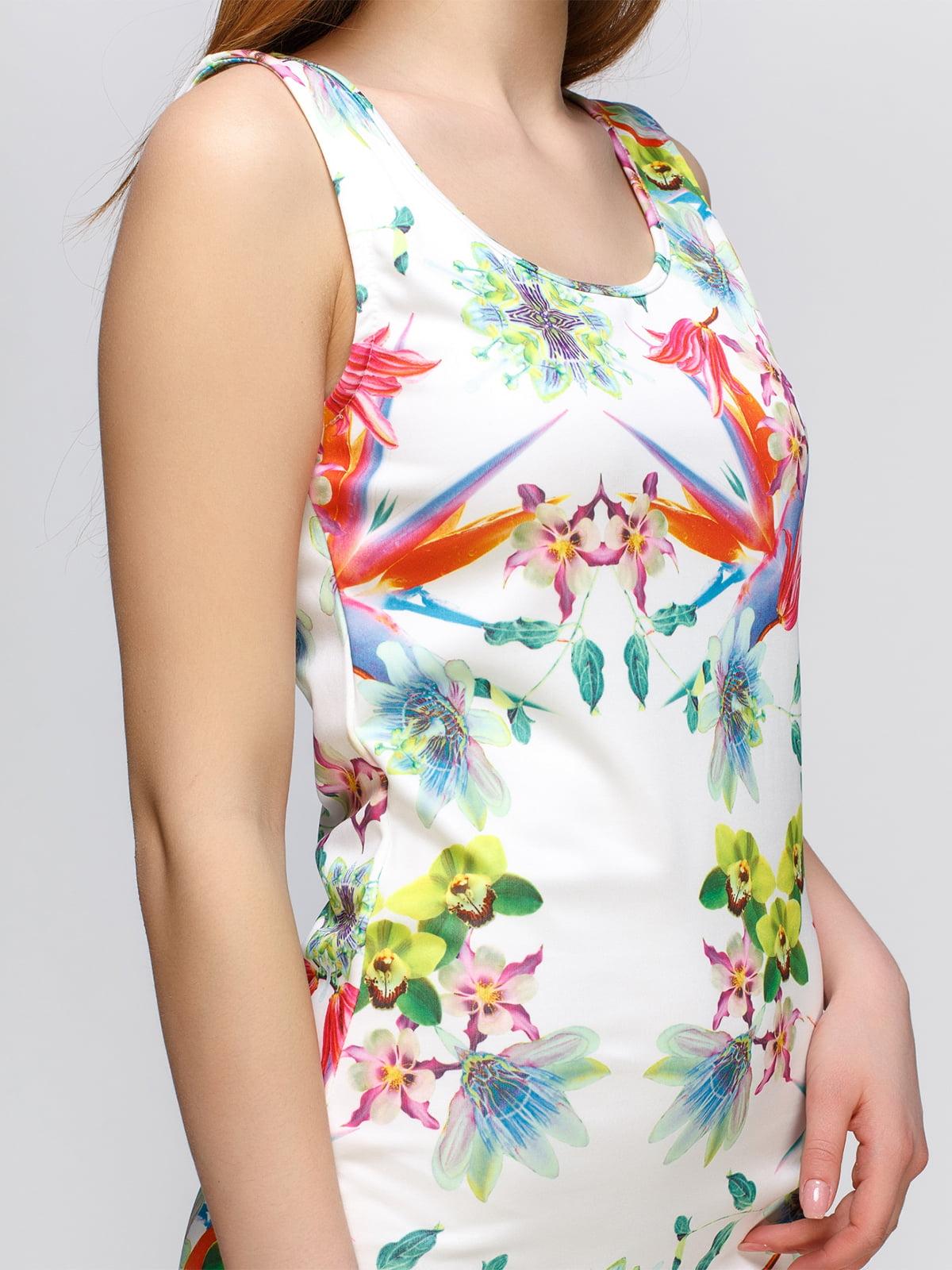 Платье белое с принтом | 4632621 | фото 3