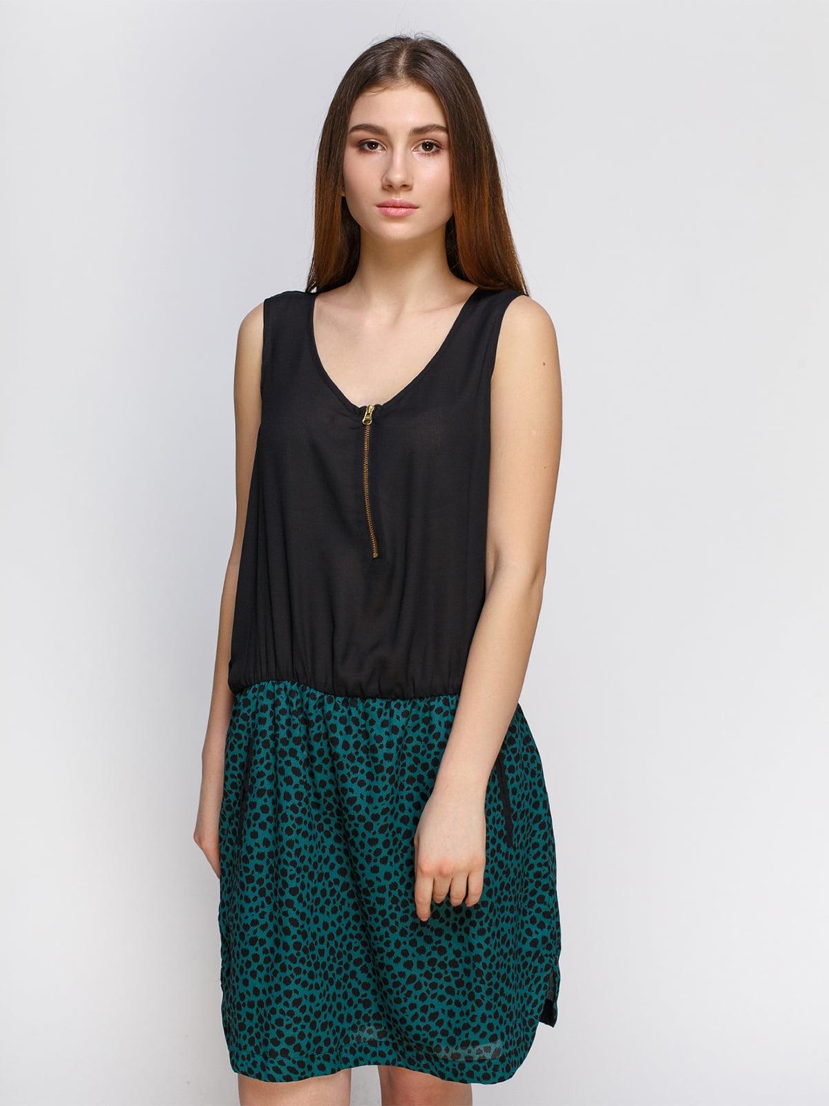 Платье черное с анималистичным принтом   4632609
