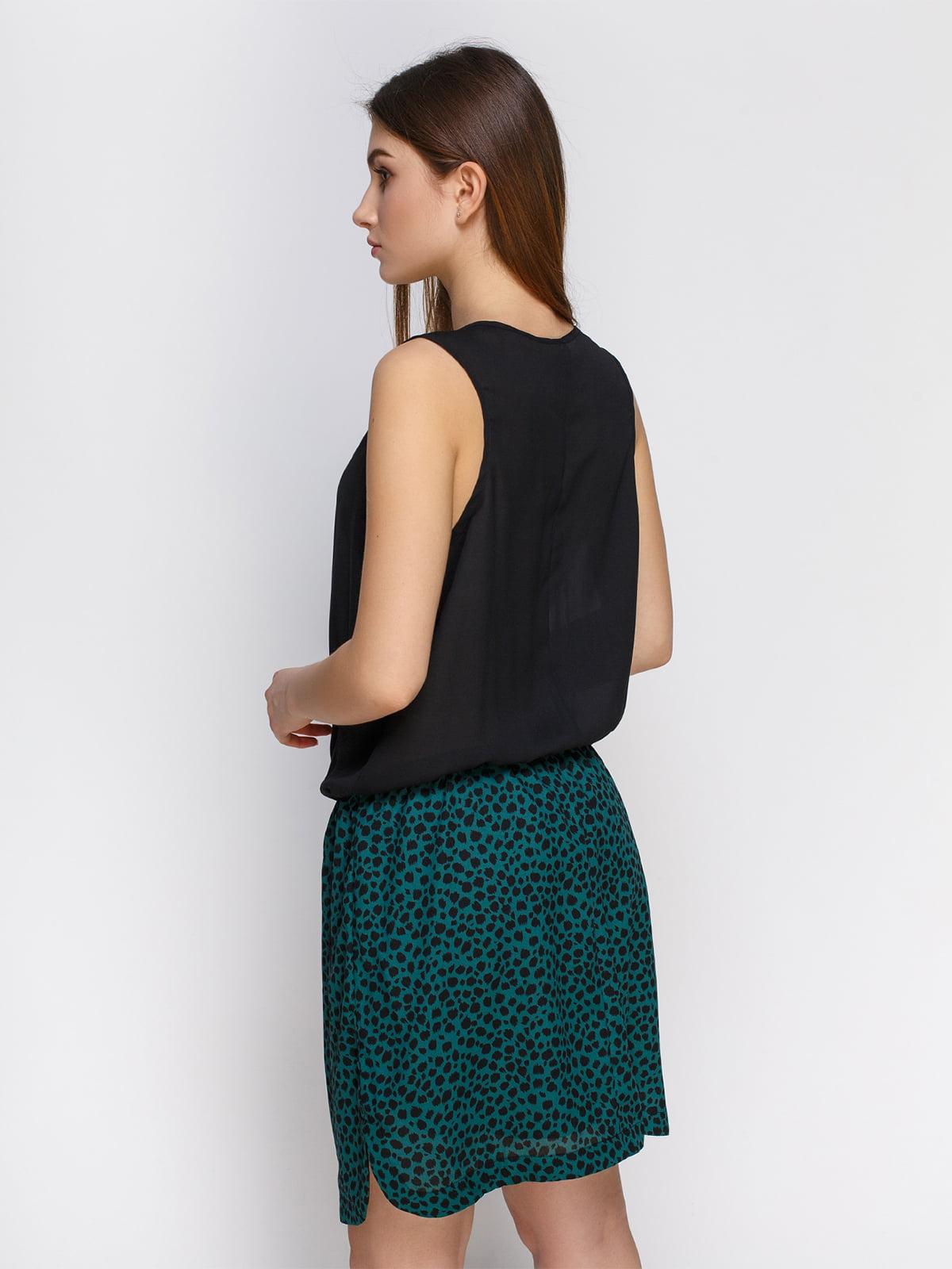 Платье черное с анималистичным принтом   4632609   фото 2