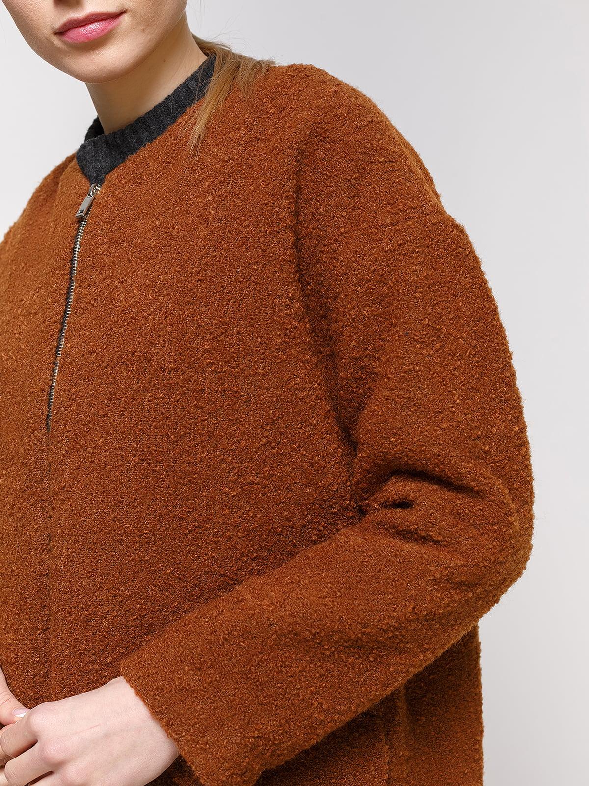 Пальто коричневое | 4791398 | фото 4