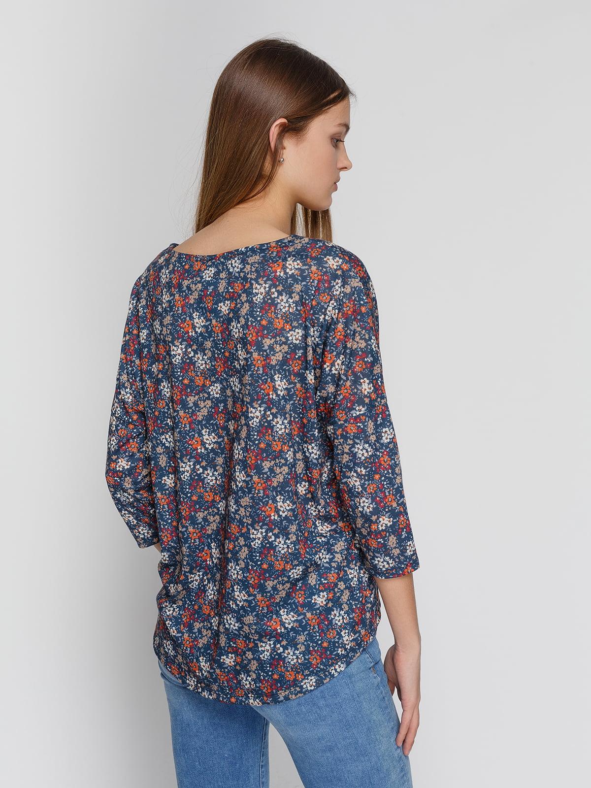 Блуза синяя в цветочный принт | 4547238 | фото 2