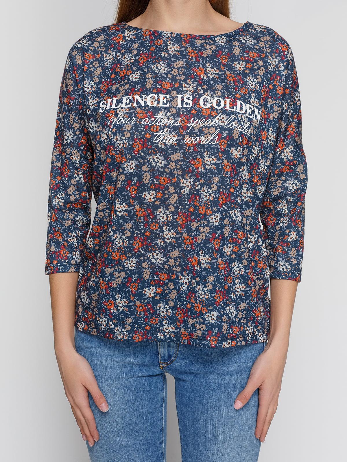 Блуза синяя в цветочный принт | 4547238 | фото 3