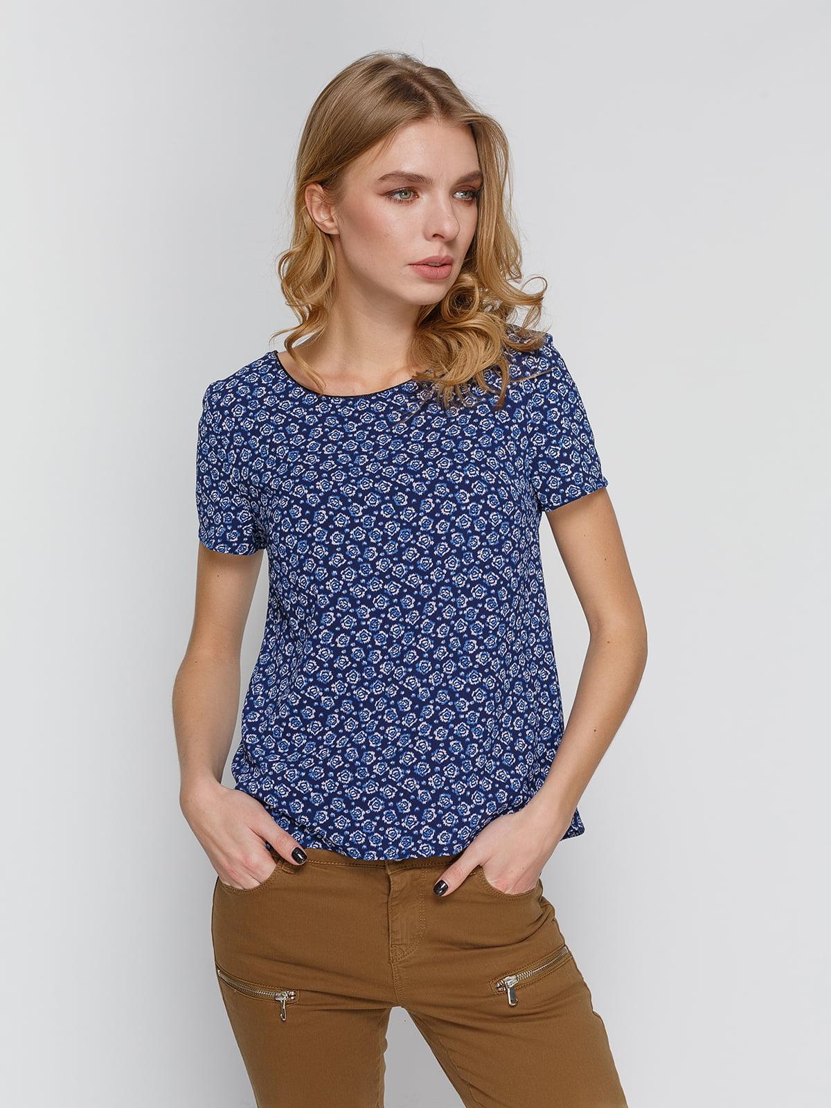 Блуза синяя в цветочный принт | 4628988