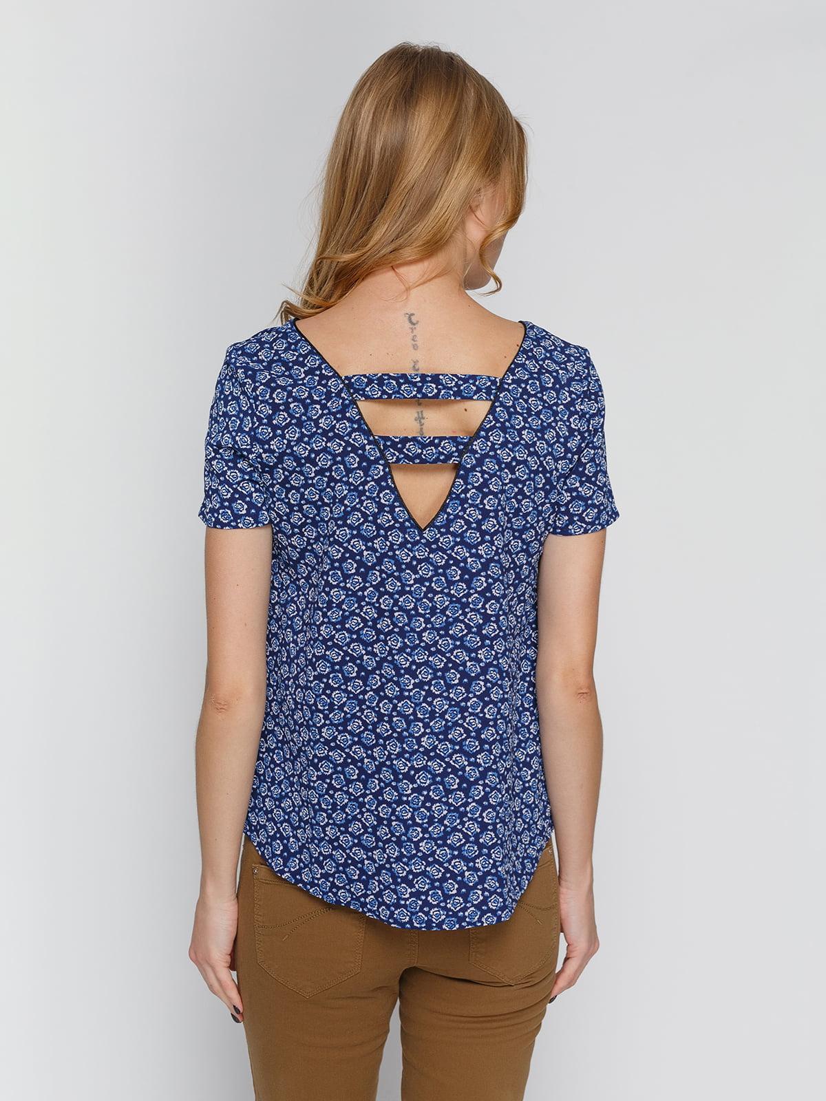 Блуза синяя в цветочный принт | 4628988 | фото 2