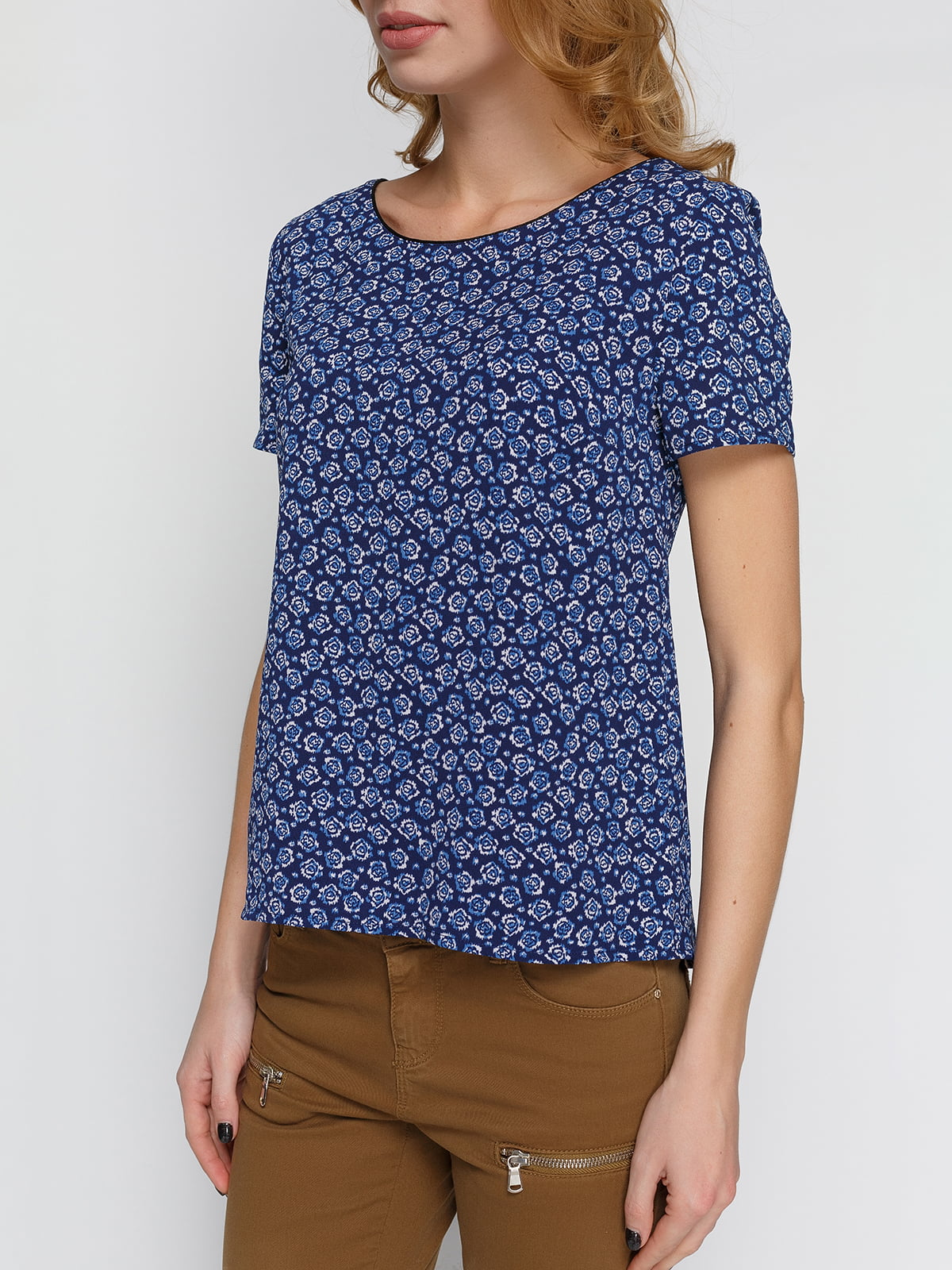 Блуза синяя в цветочный принт | 4628988 | фото 3