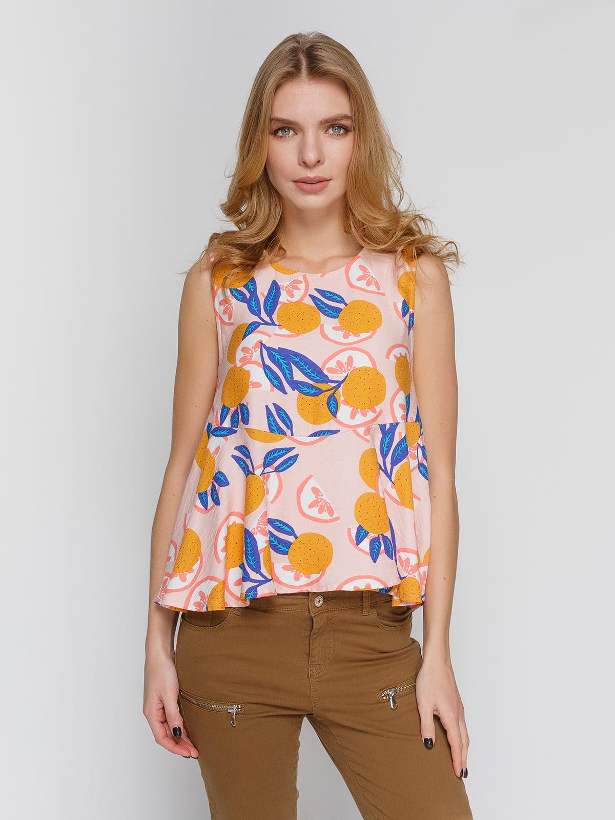 Блуза персикового кольору в принт | 4634636