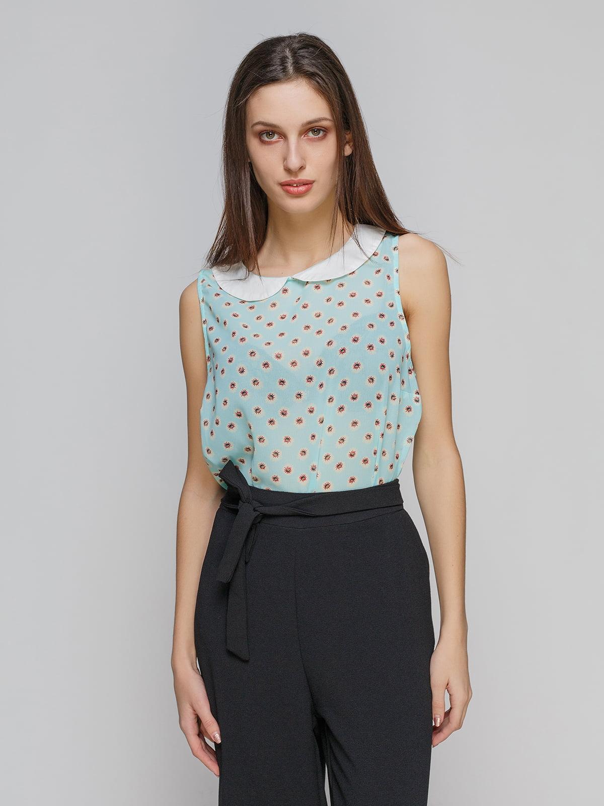 Блуза голубая в цветочный принт   4634539