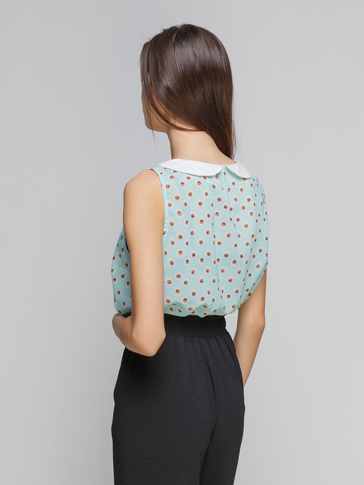 Блуза голубая в цветочный принт   4634539   фото 2