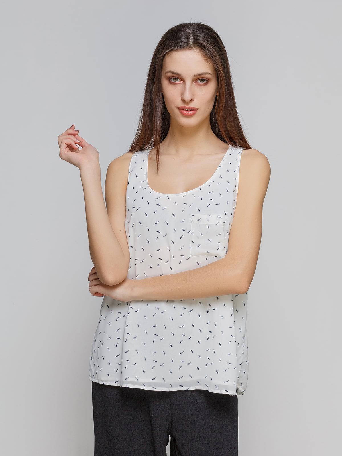 Блуза белая в принт | 4552589