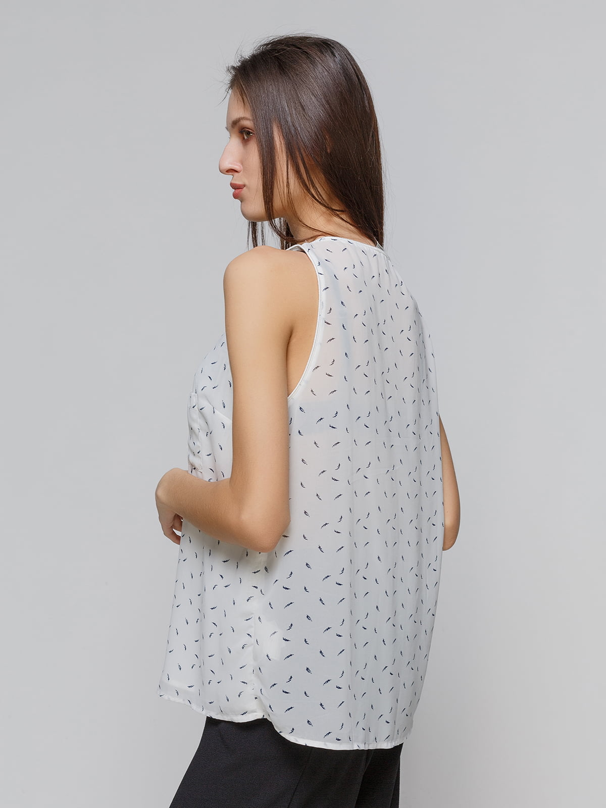 Блуза белая в принт | 4552589 | фото 2