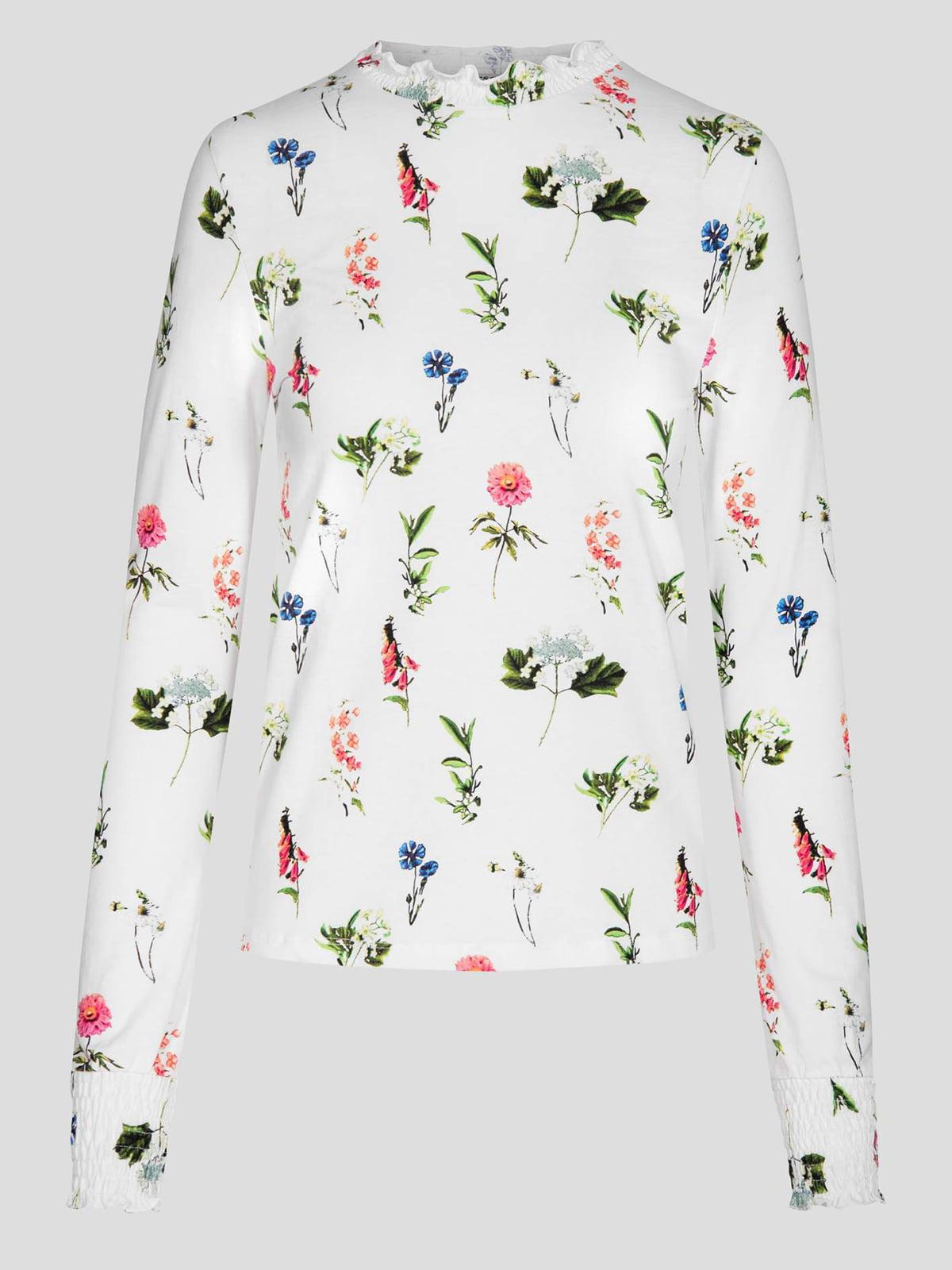 Блуза біла в квітковий принт | 4880049