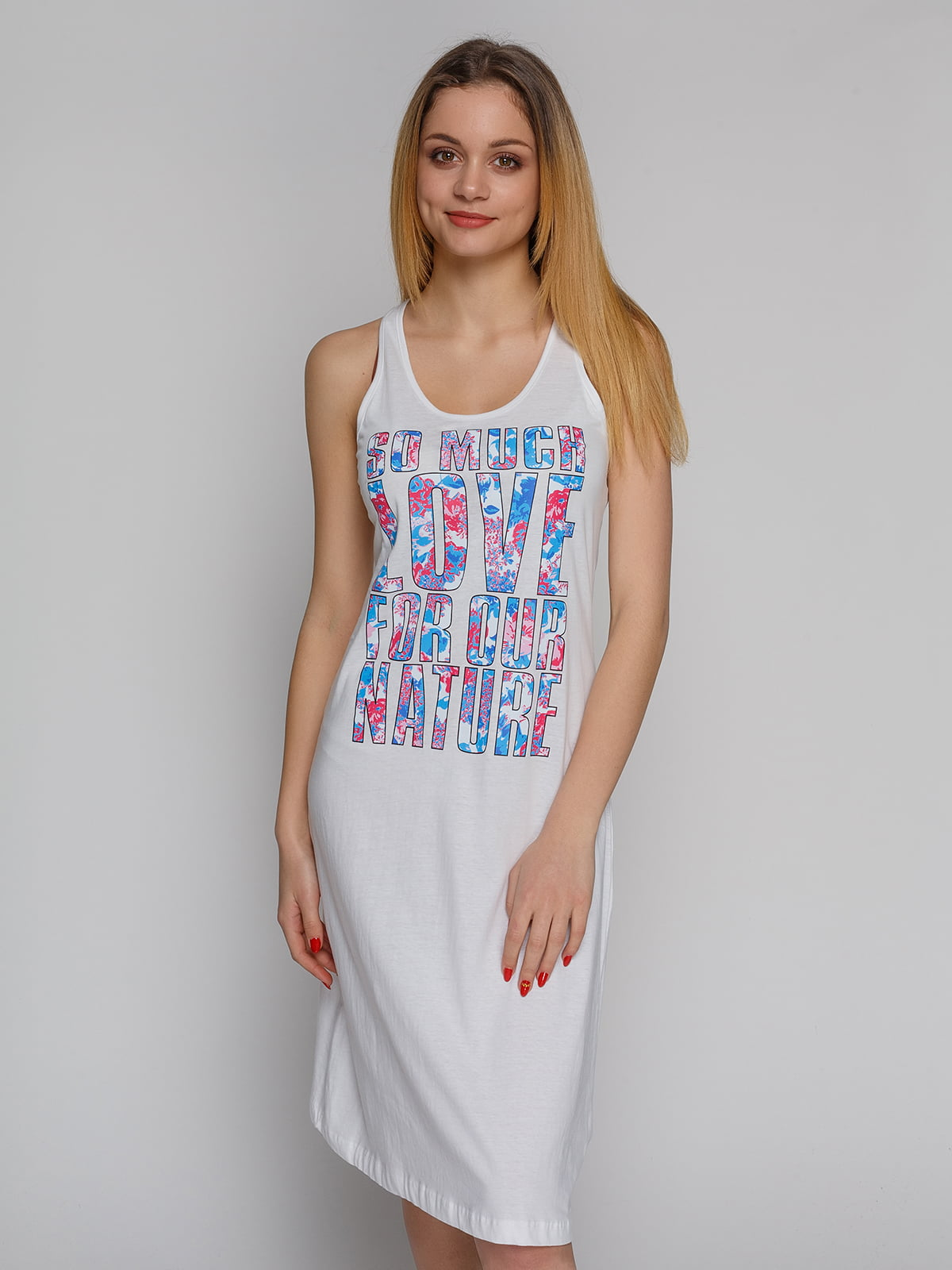 Сукня біла з принтом | 4855313