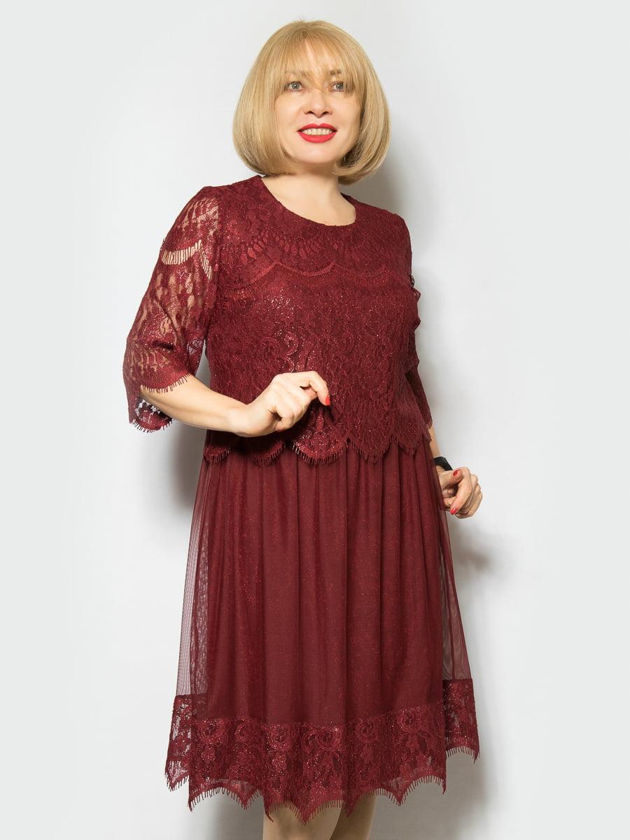 Платье бордовое   4887315