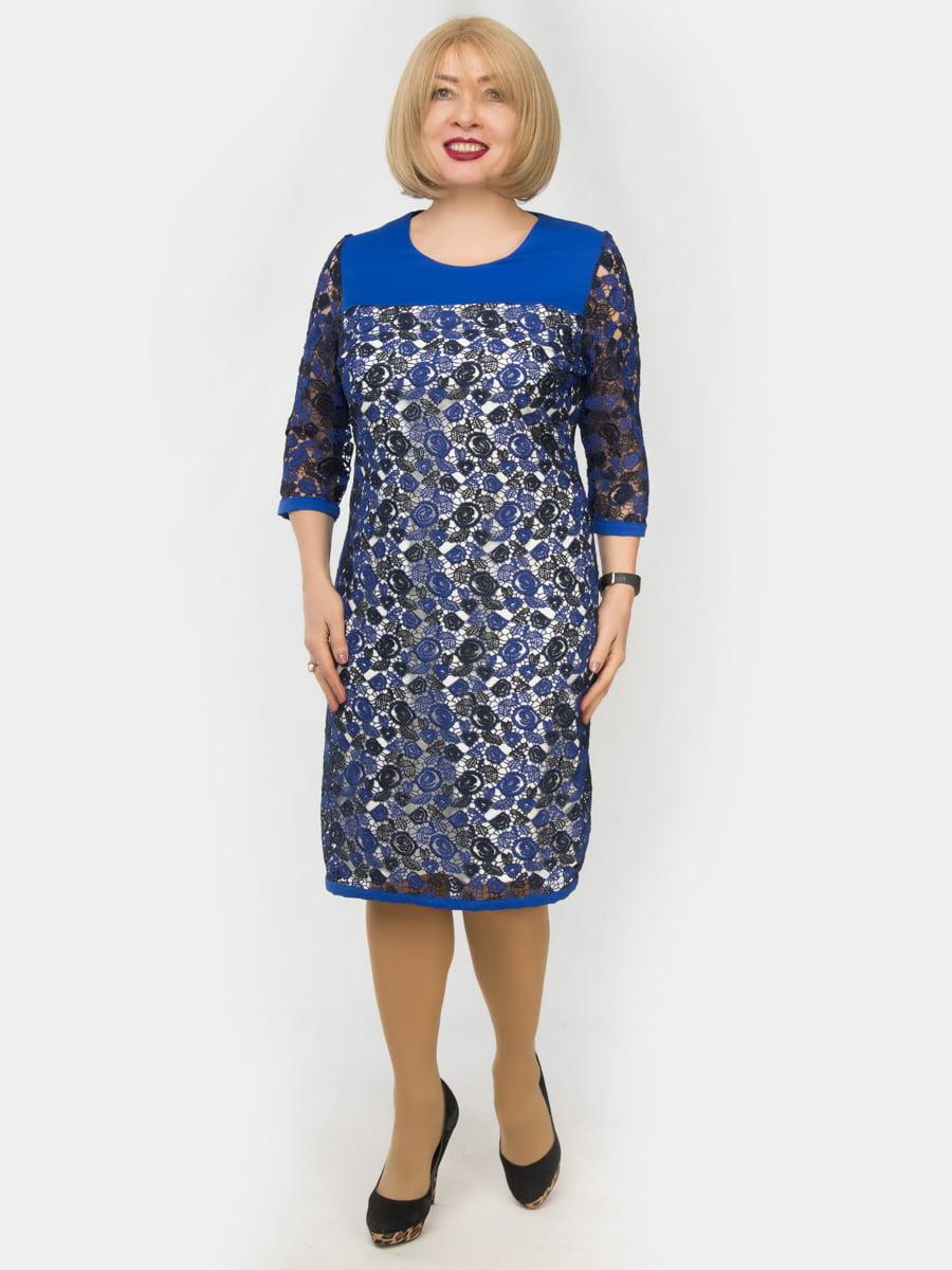 Сукня кольору електрик з принтом | 4888871