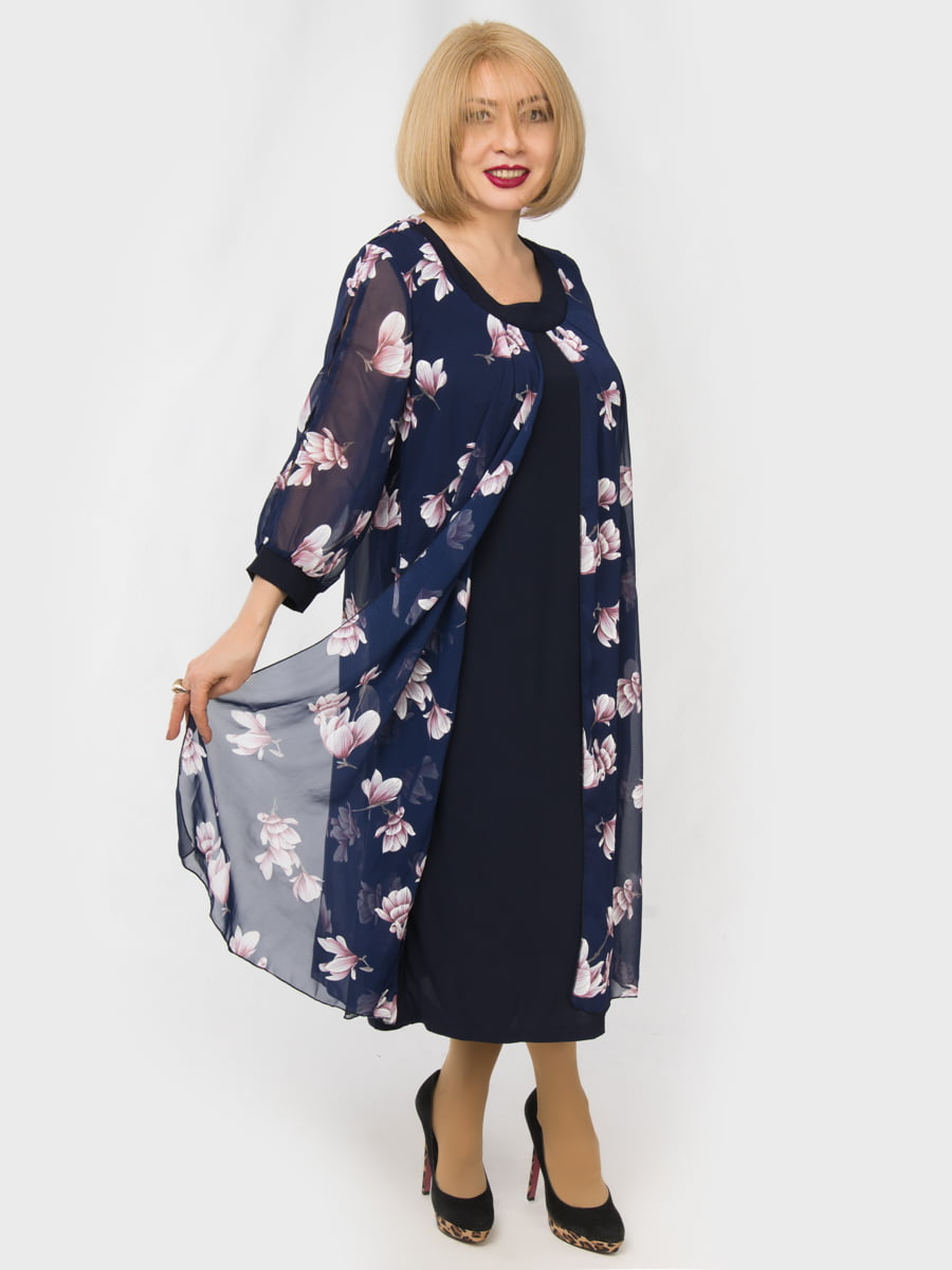 Платье синее с цветочным принтом   4888908