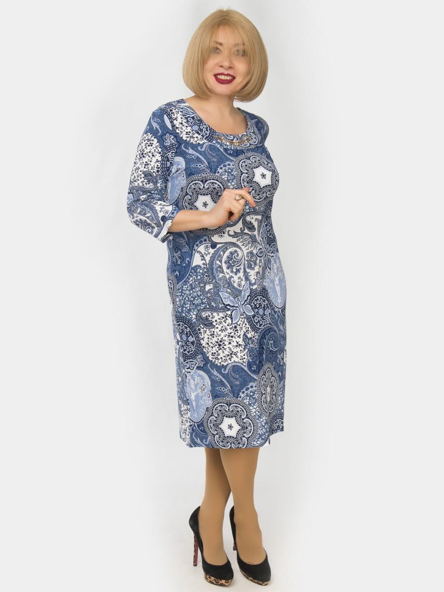 Платье голубое в принт | 4888933