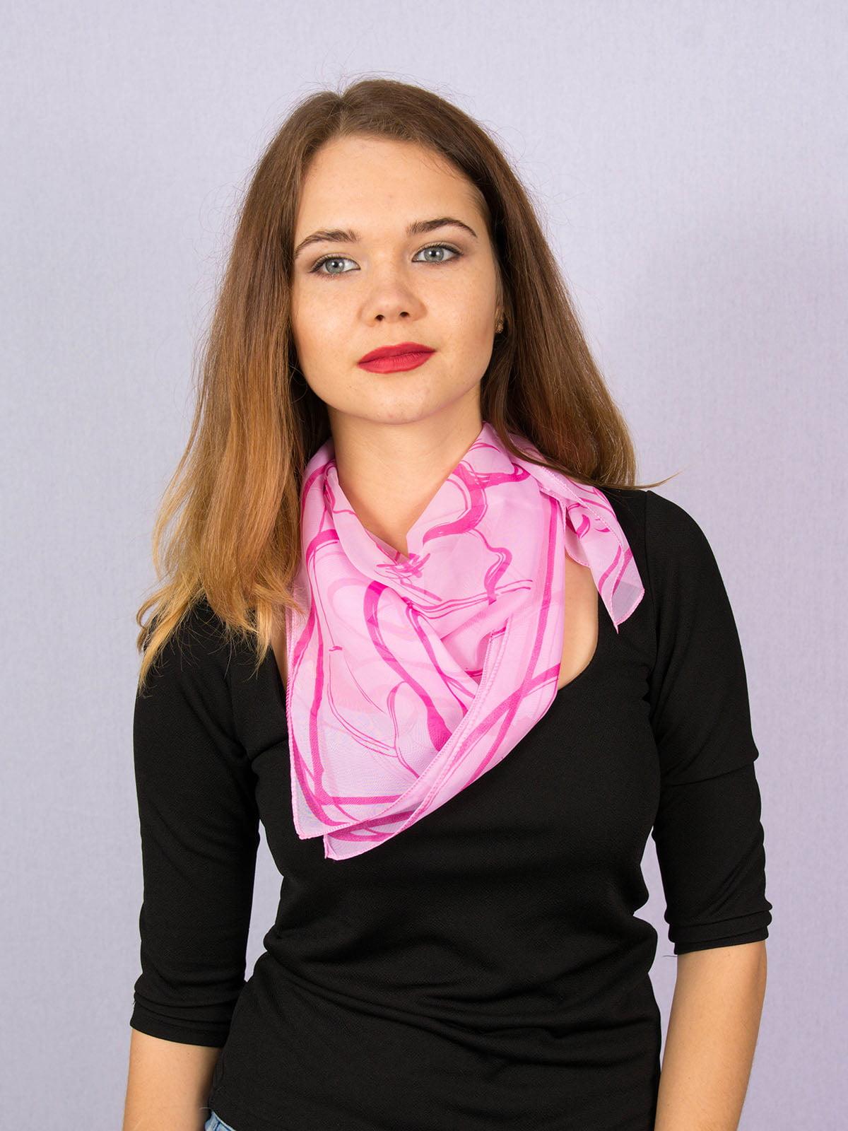 Платок розовый в принт | 4894254