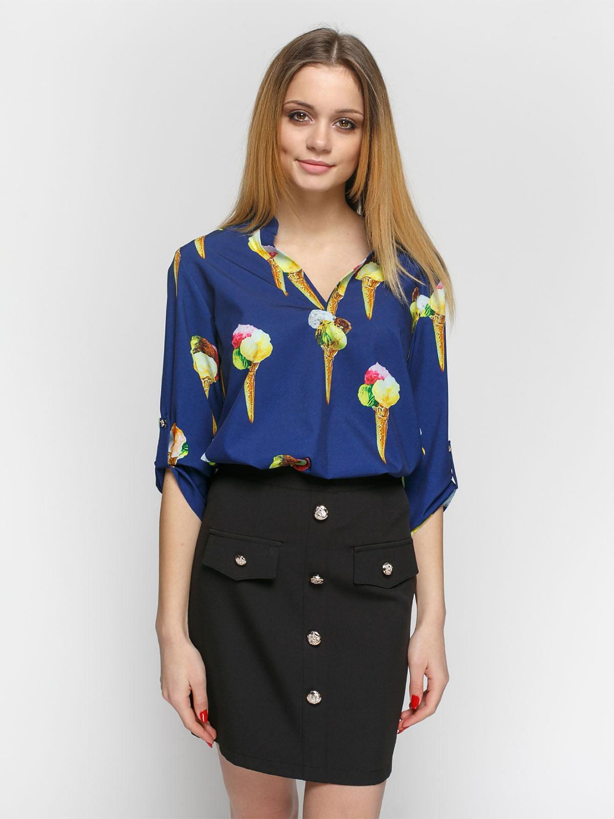 f8f29af9374 Блуза синяя с принтом — Zubrytskaya