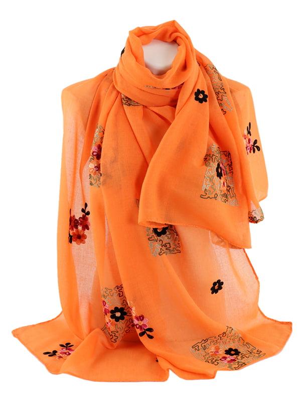 Шаль оранжевая с вышивкой | 4895785