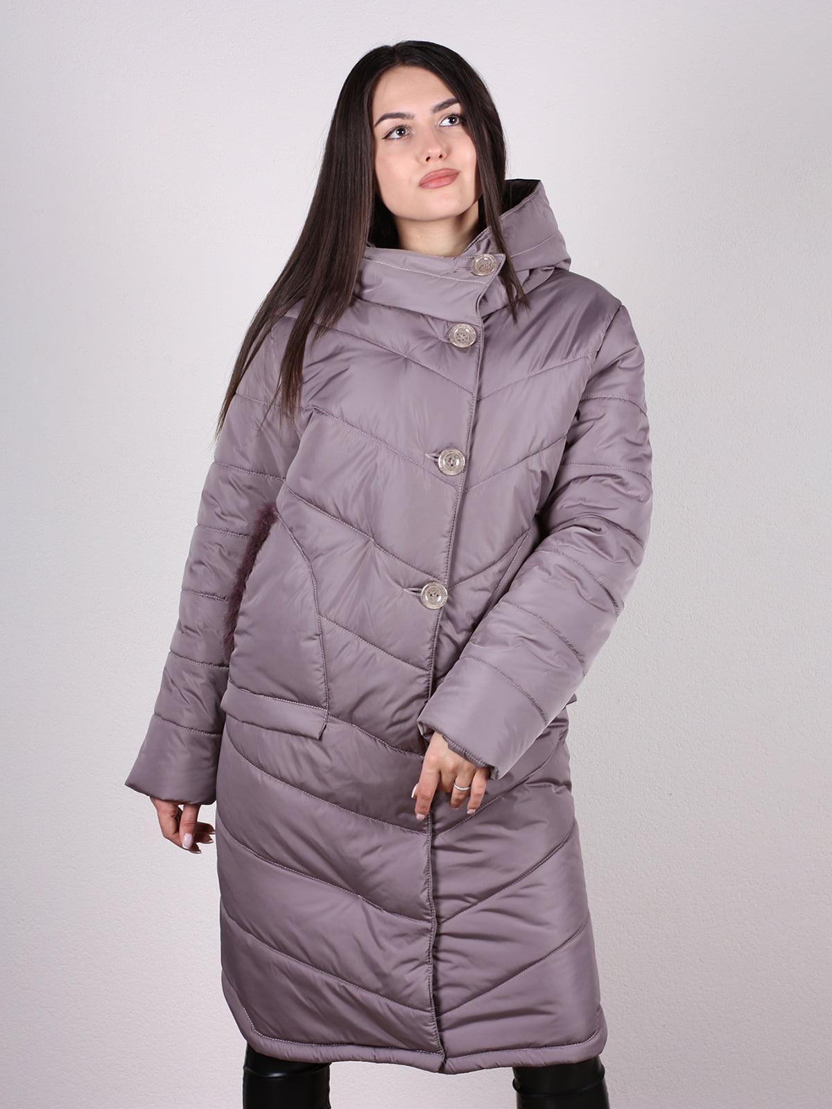 Пальто бежево-сиреневого цвета   4897392