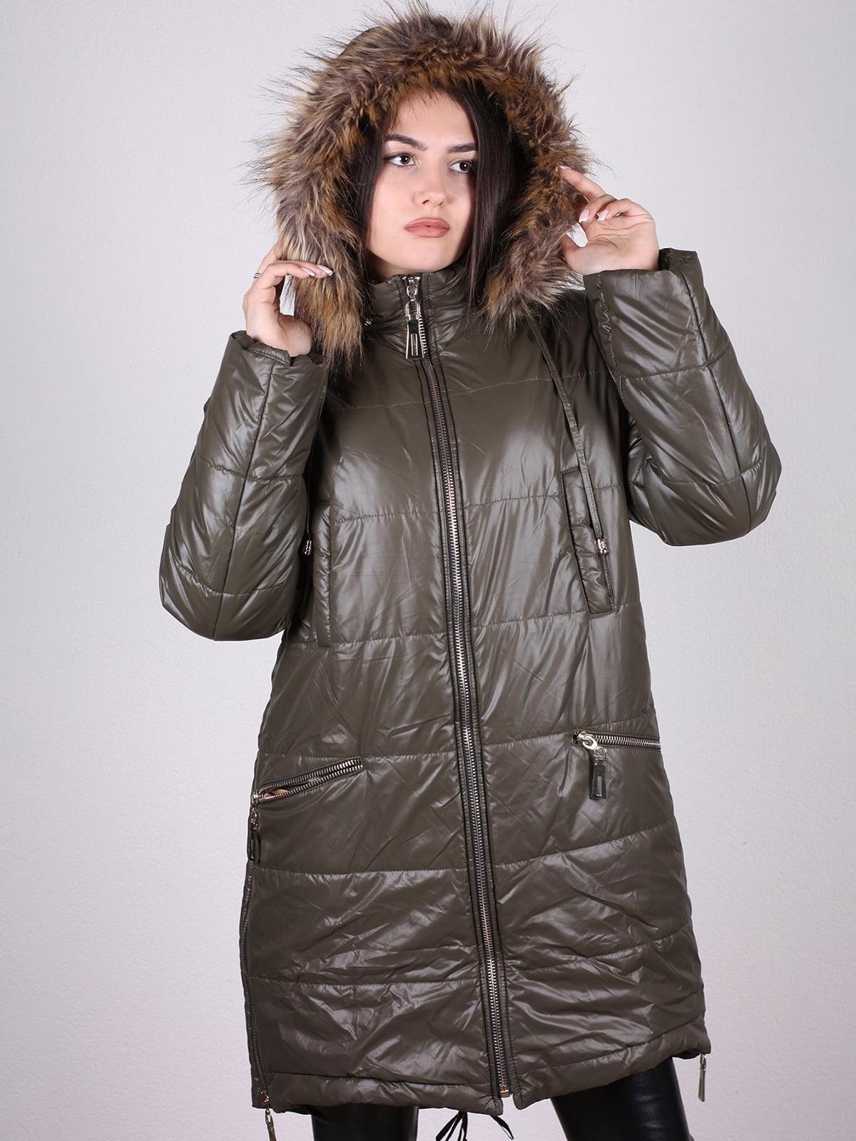 Пальто оливкового цвета   4897431