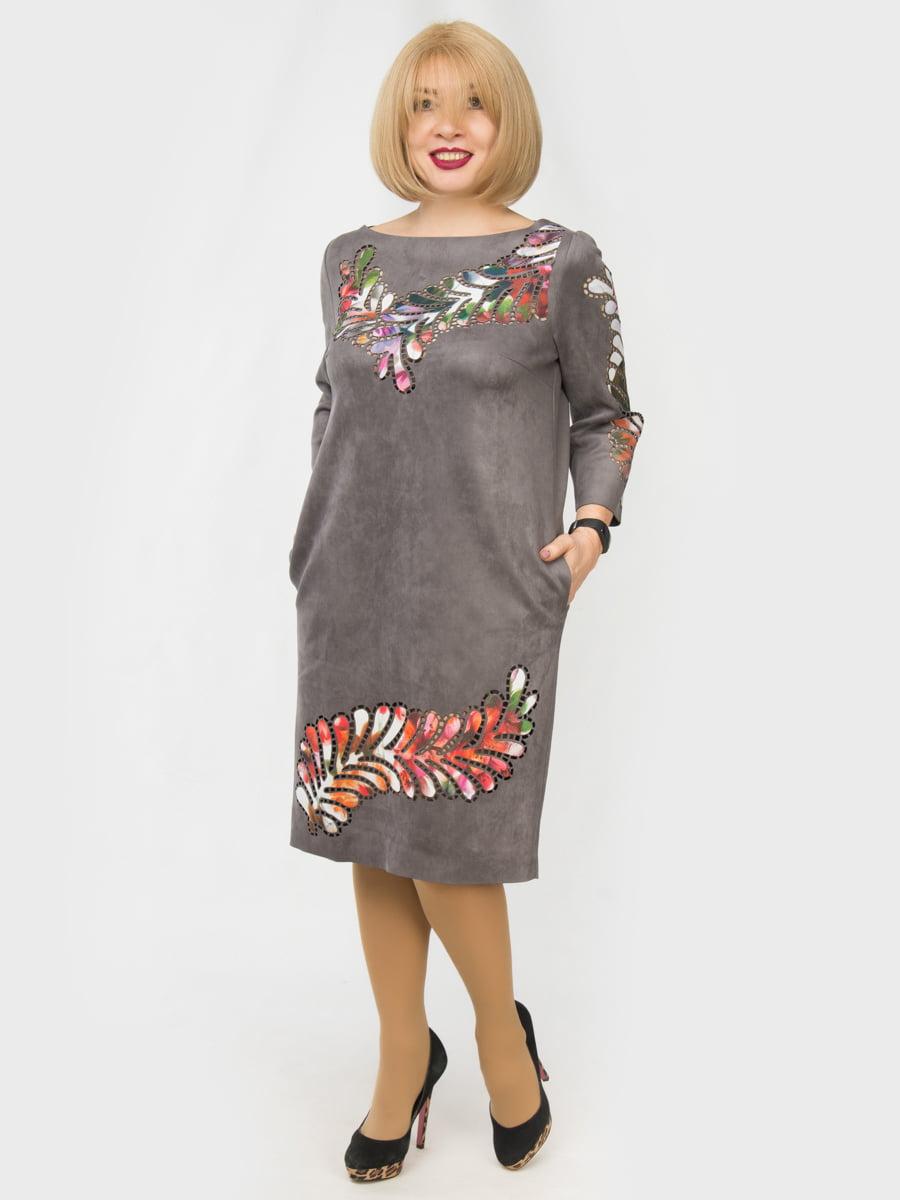 Сукня сіра з принтом | 4888856