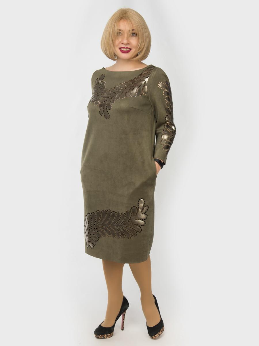 Сукня кольору хакі з принтом   4888862