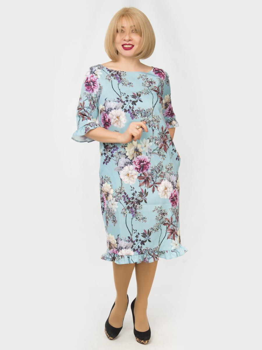 Сукня блакитна з квітковим принтом | 4888886