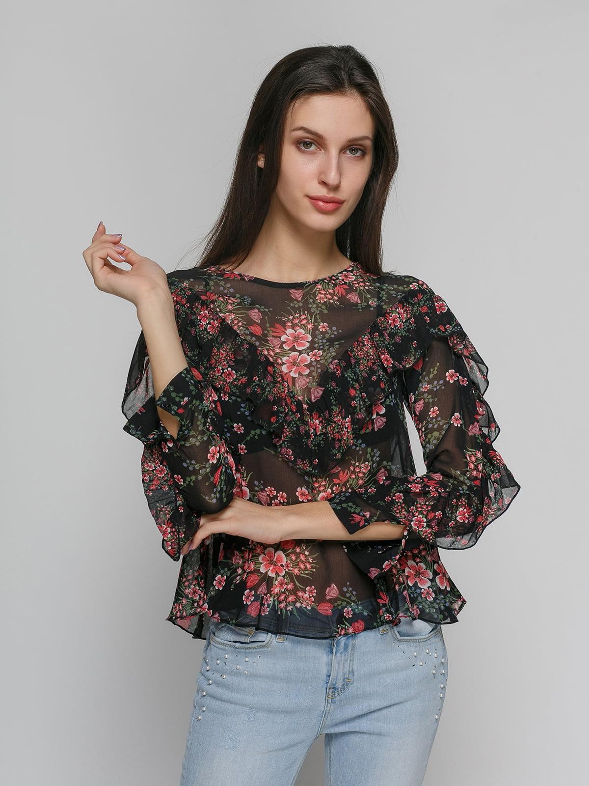 9c27a80c014 Блуза черная в цветочный принт — Zara