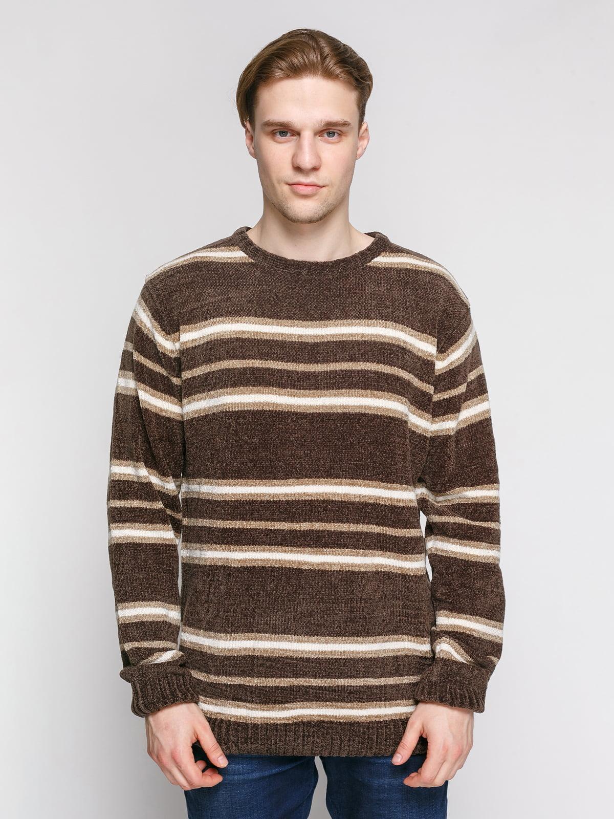 Джемпер сіро-коричневого кольору в смужку | 4855005