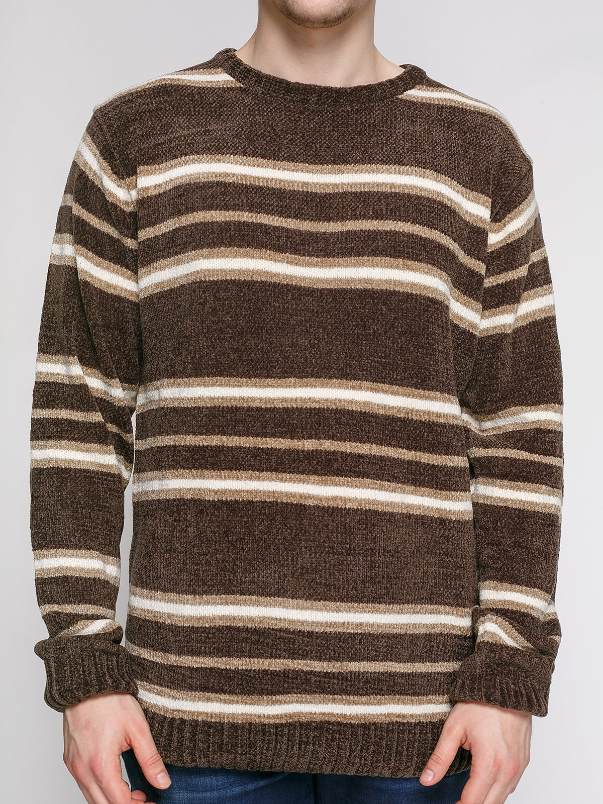 Джемпер сіро-коричневого кольору в смужку | 4855005 | фото 3