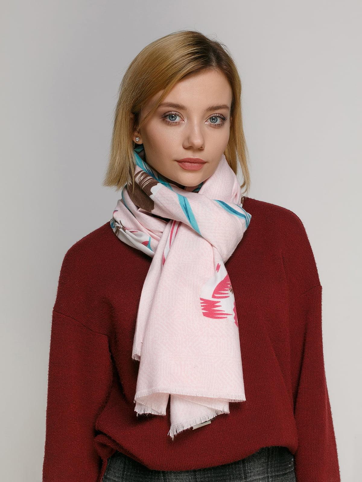 Палантин розовый в принт | 4891966