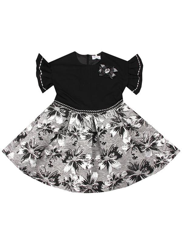 Сукня чорна з принтом | 4781304