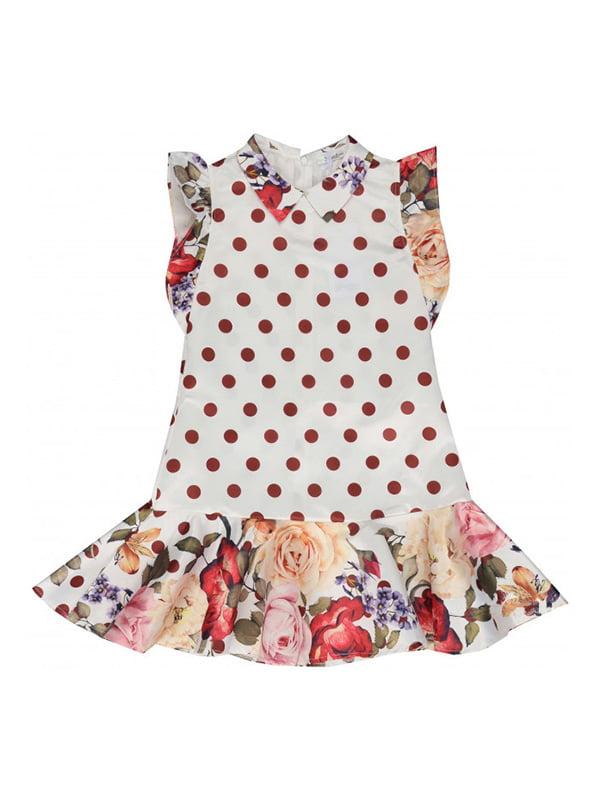 Сукня біла в горох і квітковий принт | 4781493