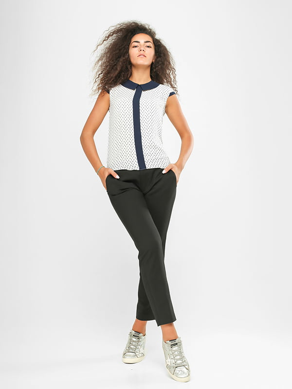 Блуза біла в принт | 4907566