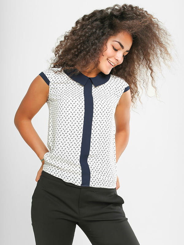 Блуза біла в принт | 4907566 | фото 2